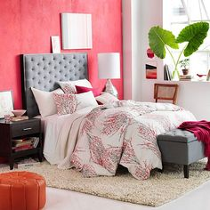 red wall color and duvet cover accents How To Choose Paint Colors And Strategies other