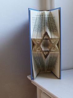 Star of David - Jewish Art - Unique Gift - Bar Mitzvah - Bat Mitzvah - Table Decoration - Favors - Folded Book Art - Centerpiece - Wedding on Etsy, $55.00