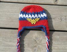 Handmade Newborn Wonder Woman Earflap Crochet Hat by LayneCouture, $22.99