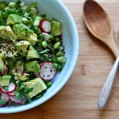 Avocado and edamame salad - calls for ginger, rice wine vin, sesame seeds.....
