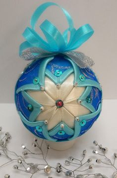 Blue and silver quilted ornament, made on a 8 cm diameter polystyrene ball, patched with light blue satin, blue glittered organza and white satin. On its front side has a vintage image with two angels. The image is made of Rice paper. Note to buyers: For one up to six baubles the shipping