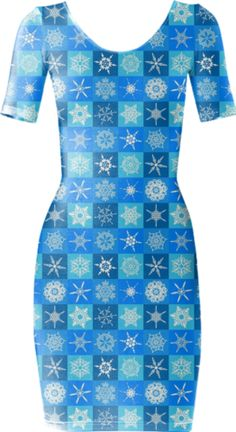Checkered Snowflakes Short Sleeved Bodycon Dress - Available Here: http://printallover.me/products/0000000p-checkered-snowflakes-4