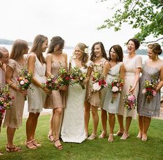 read more 20 BRIDAL PARTIES WEARING NEUTRAL AT REAL WEDDINGS neutral wedding,neutral bridesmaids,neutral bridesmaid dress