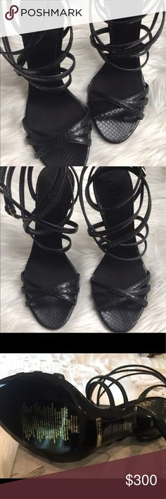 NEW Burberry Alysa Snakeskin Sandals SZ 7 Black Brand New Authentic Burberry Alysa Patent Leather Snakeskin Sandles. Retail at $960 with tax. Sold out style. Leather upper. Dual adjustable buckle closures at ankle. Leather lining. Leather footbed. Wrapped heel. Leather outsole. Made in Italy. Heel Height: 3 3 ⁄ 4 in. Weight: 7 oz.  ****Please note, I do not have original box.**** thanks for looking ❤️ Burberry Shoes Heels