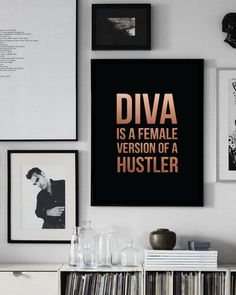 """Beyonce Poster """"Diva Is A Female Version Of A Hustler"""" Beyonce Print Beyonce Decor Beyonce Wall Art Beyonce Quote Gold Print. (11.99 USD) by LovelyPosters"""