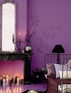 shabby chic tiefe violettes schlafzimmer