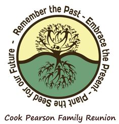 """Logo idea from Cook Pearson Family Reunion. I would change it to say, """"Remember the Past - Embrace the Present - Nurture the Future""""."""