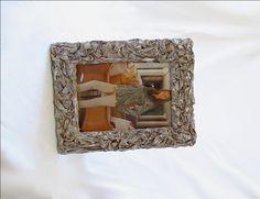 Cornice cartapesta/Cornice foto 15x21cm/Portaritratto stile shabby chic/Portafoto da tavolo e da parete/Effetto drappeggio/Beige rosato di FioreLunaEcoDeco su Etsy