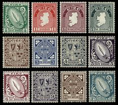 Stamps of Ireland - Definitives of Rare Stamps, Old Stamps, Vintage Stamps, Vintage Comic Books, Vintage Comics, Gift Voucher Design, Gift Vouchers, Stamp Collecting, History