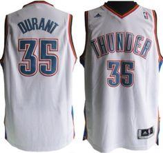 Oklahoma City Thunder #35 Kevin Durant Revolution 30 Swingman White Jersey