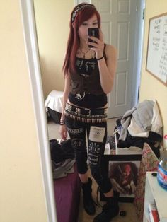 Punk girl crust punk bullet belt patches diy