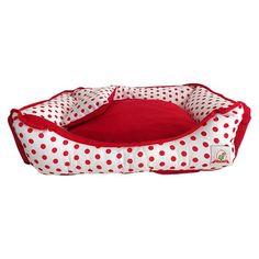 Cama pra Cachorro Retangular com Zíper Bolinhas Vermelhas Bag Dog - MeuAmigoPet