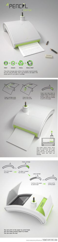 Pencil printer an awesome invention and neat for writers that want to save trees while editing their work :) :)