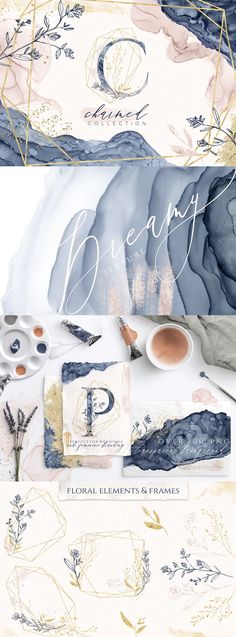 Introducing Charmed - a delicate collection of lovingly handcrafted graphics including dreamy indigo and champagne ink textures, a decorative alphabet with optional geometric frames, gold dust, shimmery & acrylic brush strokes, floral elements, arrangements, and geometrics. Perfect for elegant weddings, feminine branding, social media, blogs, and so much more! [ad] #design #watercolor