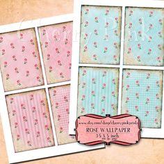 Supplies Rose Wallpaper Digital Collage Sheet by CherryPinkPrints