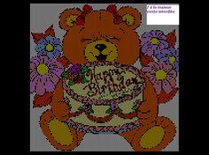 Bear holding Happy birthday Cake