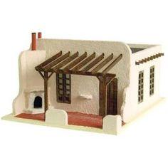 The Adobe House ~ salon idea Clay Houses, Ceramic Houses, Miniature Houses, Dollhouse Kits, Dollhouse Miniatures, Adobe House, Paperclay, Le Far West, Kit Homes