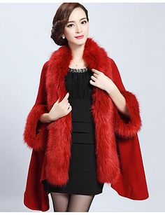 Women's Casual/Daily Simple Regular Cloak / Capes,Solid Faux Fur Fall  Winter Medium