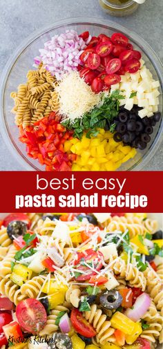 The Best Italian Pasta Salad Recipe! This cold pasta salad is easy to make and loaded with fresh veggies, olives and cheese. Made with Italian dressing (use store bought or my zesty homemade dressing). One of our favorite vegetarian recipes, this h Mayo Pasta Salad Recipes, Vegetarian Pasta Salad, Healthy Pasta Salad, Best Pasta Salad, Easy Pasta Salad Recipe, Pasta Salad Italian, Healthy Pastas, Healthy Salad Recipes, Veggie Pasta Salads