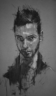 """junger mann von Koln""  conte and chalk on paper 30 x 65 cm 8th February 2014"
