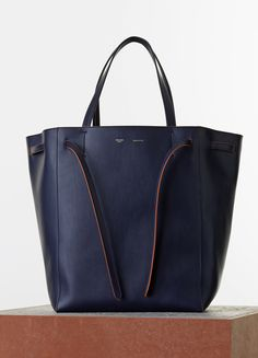 bb9ff80b4109 Céline Spring 2015 - Medium Cabas Phantom with Belt in Navy Blue Smooth  Calfskin