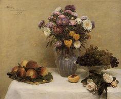 Blanco Roses , crisantemos en un florero , melocotones y uvas en un mesa con un blanco `tablecloth, aceite de Henri Fantin Latour (1836-1904, France)
