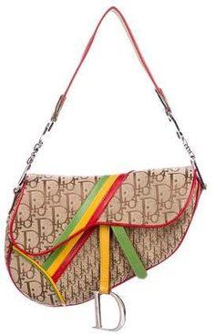 43d46579ab Christian Dior Canvas Rasta Leather Saddle Hand Shoulder Bag $316 ...