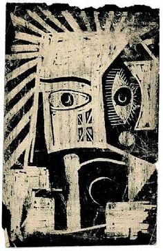 'The African Mask' (c.1947-48) by French artist & founder of Surrealism, André Breton (1896-1966). Ink & wax on paper. via vivre!