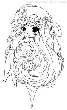 chibi cotton candy girl coloring page - Girl Coloring Pages Free