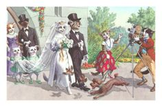 vintage cat graphic wedding poster