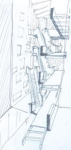 Estudo para um quarteirão em Telheiras, Lisboa, 2009 Study for a mixed use block in Telheiras, Lisbon, 2009 - stairs of the hotel unit. By Carlos Filipe