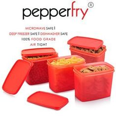 All Time Sleek Container 4 Pcs Set 850ml Red at Rs.149 Free Shipping – Pepperfry