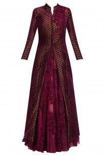 Maroon Lasercut Applique Work Gown and Jacket Set Party Wear Indian Dresses, Indian Gowns Dresses, Indian Bridal Outfits, Pakistani Bridal Dresses, Dress Indian Style, Pakistani Dress Design, Indian Designer Outfits, Designer Dresses, Designer Sarees