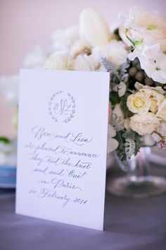 Blush and grey wedding. Calligraphy by Studio French Blue. Photography by Le Secret d'Audrey. Letterpress by Studio Pression.