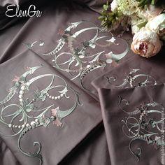Купить Постельное белье с вышивкой - MG Фамильная монограмма - брусничный, горчячий шоколад, сливовый