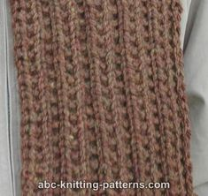 ABC Knitting Patterns - Man's Twin Rib Scarf. chunky