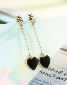 #xmas #Christmas #VIPshop - #NEOGLORY Black Cubic Zirconia Heart Gold Drop Stud Earrings - AdoreWe.com