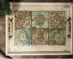 Moldings And Trim, Altered Bottles, Diy Frame, Tray Decor, Art N Craft, Paper Clay, Stenciling, Repurposed Furniture, Shabby Chic Decor