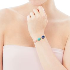 Vermeil silver Terra Bracelet with Sodalite, Amazonite and Opal - Tous