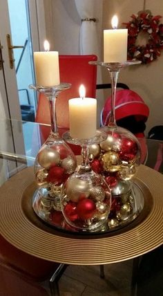 Dollar Store Christmas Table Centerpieces - Wine Glass Candle Holders - Recycled Christmas Decorations - Dollar Store Christmas Table Centerpieces - Wine Glass Candle Holders Wine glasses as candle holders Dollar Tree Christmas, Christmas Wreaths, Christmas Crafts, Christmas Balls, Christmas Glasses, Christmas Ideas, How To Decorate For Christmas, Office Christmas, Advent Wreaths