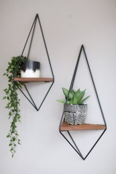 Beforeafter 731131320741026474 - Custom 'Fernie' Shelf Prismatic Geometric Floating Source by Cheap Home Decor, Diy Home Decor, Decoration Hall, House Plants Decor, Modern Shelving, Shelf Design, Wood Shelves, Black Wall Shelves, Black Floating Shelves