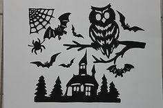Fensterbild Tonkarton Herbst*Halloween Eule Fledermaus *NEU Handarbeit 10-teilig
