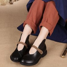Cheap women flat shoes, Buy Quality flat shoes directly from China handmade women shoes Suppliers: Comfortable women flat shoes genuine leather casual handmade women shoes round head black blue
