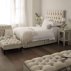 Tufted furniture is so romantic........again, love. I want a tufted ottoman badly!