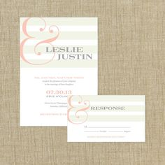 Printable Wedding  Invitation Suite- Ampersand and Stripes Collection