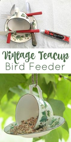 Turn vintage china into a pretty teacup bird feeder for your yard or garden. This project is a great way to use mix-and-match cups and saucers and thrift store finds. #vintage #garden #teacup #birdfeeder #upcycling #vintagechina