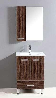 24 inch single sink bathroom vanity with mirror and side cabinet