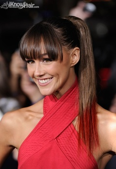 20 Great Hairstyles With Bangs: Brow-skimming Bangs With a Ponytail Bangs Ponytail, Cute Ponytails, Ponytail Hairstyles, Workout Hairstyles, High Ponytails, Updo, Square Face Hairstyles, Great Hairstyles, Hairstyles With Bangs