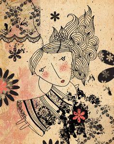 vintage illustration girl image antique April by krize