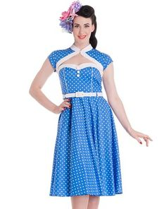 Blue Melanie Polka Dot Dress by Hell Bunny Rockabilly Mode, Rockabilly Fashion, Rockabilly Dresses, Pin Up Dresses, Blue Dresses, Dress P, Swing Dress, Dot Dress, Vintage Outfits